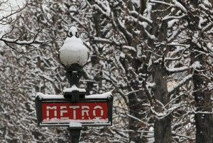 Snow covers a Metro sign and tree branches