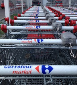 Shopping carts at French supermarket