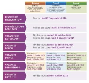French school calendar 2014-2015