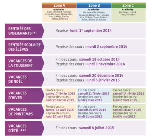 French school calendar 2014-2015