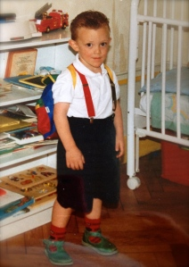 Ready for his first 'rentrée': my son, Elliott, in the early 90s.